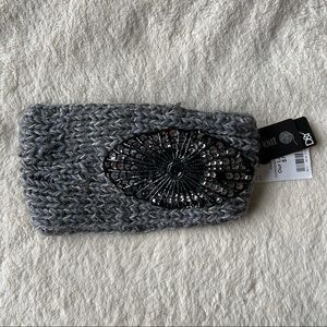 Grey Knit Headband with Sequin Detail